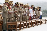 A 2010 file photo of Burma's military generals attending the annual Armed Forces Day in Naypyidaw. (PHOTO: Reuters)