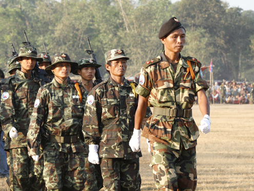 File photo of the KNU's armed wing, the KNLA, on parade. (PHOTO: DVB)