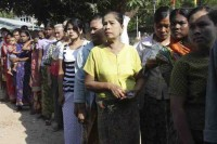 File photo of Burmese voters waiting in line to cast their ballot during the 2010 election.