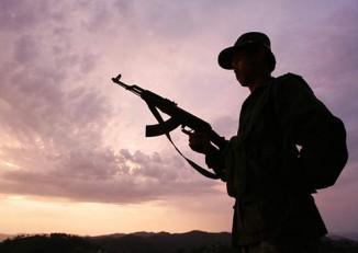 The silhouette of a Shan State Army -South soldier. (Photo supplied to DVB)