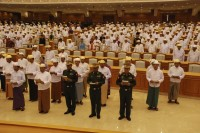 Members of the Pyidaungsu Hlutaw (Union Parliament) take an oath of office in the presence of the Speaker of Parliament in Naypyidaw in 2011. (PHOTO: Reuters)