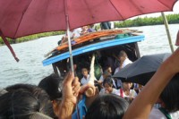 Three students have been found dead and four others are still missing after a ferry sank in a creek in Arakan State's Ponnakyun township yesterday. (Photo: DVB)