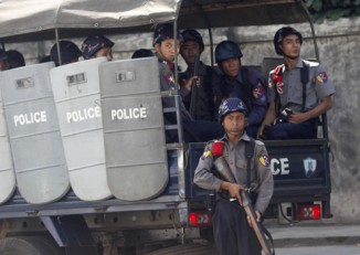 A file photo pictures police in Rangoon (PHOTO:DVB)