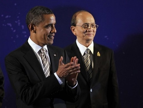 US President Obama, pictured with Thein Sein in Burma in November 2014. (PHOTO: DVB)