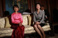 In this file picture from 2011, Thailand's Prime Minister Yingluck Shinawatra meets with Burmese opposition leader Aung San Suu Kyi at the Thai Embassy in Rangoon.  (PHOTO: Reuters)