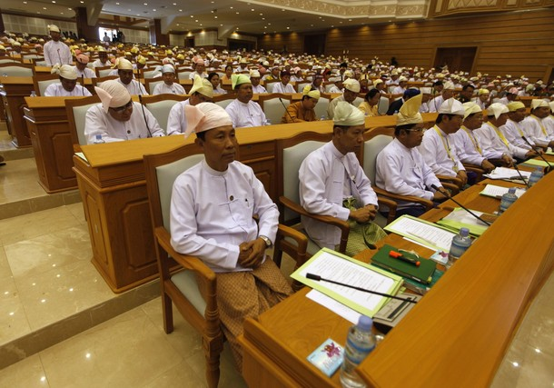 In this file photo, the lower house sits in Naypyidaw. House speaker Shwe Mann is seated at front left. (PHOTO: Soe Zeya Tun)