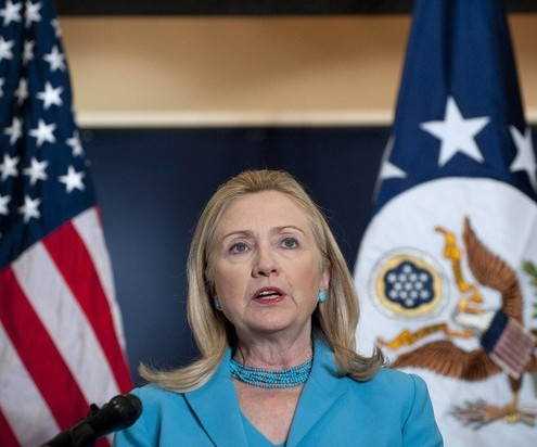 U.S. Secretary of State Clinton speaks during a news conference following her meetings with Myanmar officials, including President Thein Sein, in Naypyitaw