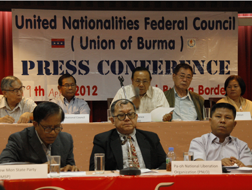 The UNFC hold a press conference at an undisclosed location in Thailand in April 2012. (DVB)