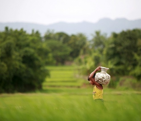 A Rohingya child from Myanmar carries water from a pond, as the mountains of Myanmar are seen in the background, at a refugee camp in Cox's Bazaar