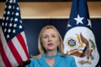 U.S. Secretary of State Clinton speaks during a news conference following her meetings with Burma officials in December 2011