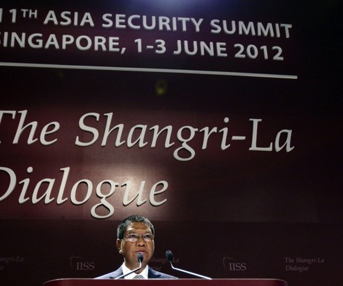 Myanmar's Defence Minister Lieutenant General Hla Min speaks during the IISS Asia Security Summit: The Shangri-La Dialogue in Singapore