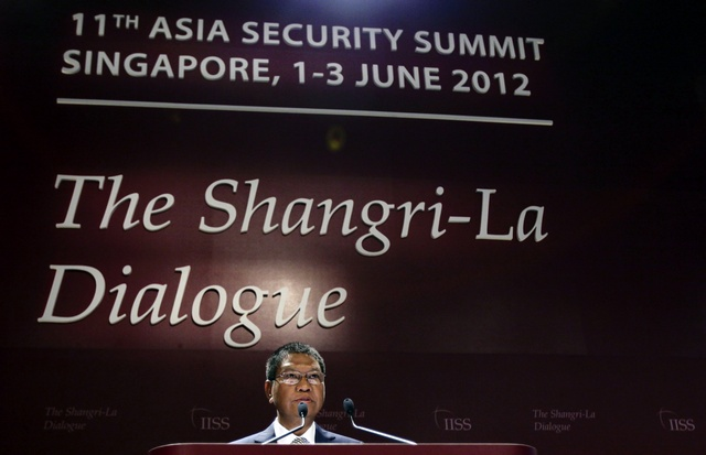 Burma's Defence Minister Lieutenant General Hla Min speaks during the IISS Asia Security Summit: The Shangri-La Dialogue in Singapore (Reuters)