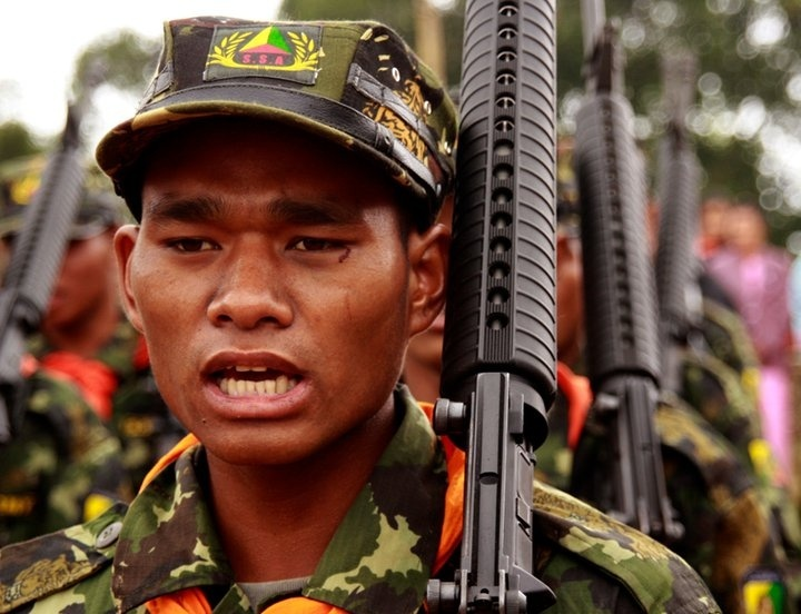 The Shan Nationalities Democratic Party aims to reach out to the South State Army-South in accordance with the newly created forum. Troops from the SSA parade in the headquarters of Loi Taileng on the Thailand-Burma border (Francis Wade)