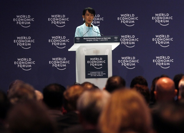 "Aung San Suu Kyi speaks during the ""One-on-One Conversation with a Leader"" event as part of the World Economic Forum on East Asia in Bangkok on 1 June 2012. (Reuters)"