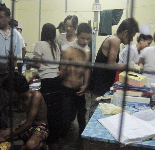 Injured people are treated in Sittwe General Hospital in Sittwe