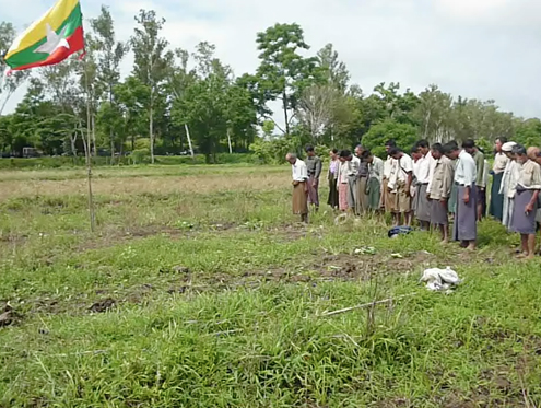 In this file photo from Prome Township, local farmers protest by ploughing confiscated land. in Padaung. (PHOTO: DVB)