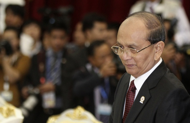 President Thein Sein arrives for the 20th ASEAN summit meeting at the Peace Palace in the Office of the Council of Ministers in Phnom Penh on 3 April 2012. (Reuters)