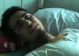 Phyo Wai Aung, pictured here on his hospital bed in Insein township, was sentenced to death for his suspected involvement in the New Year's bombing in 2010. (DVB)