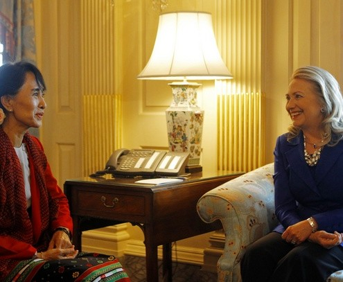 U.S. Secretary of State Clinton meets with Myanmar opposition leader Suu Kyi at the State Department in Washington