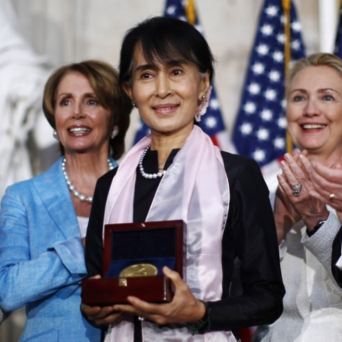 Myanmar opposition leader Aung San Suu Kyi is presented with the Congressional Gold Medal in Washington