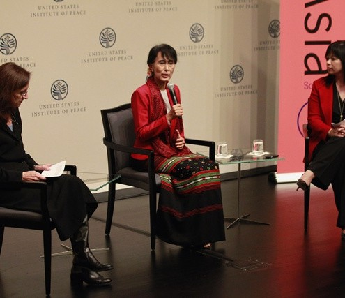 Myanmar&#039;s Opposition leader Suu Kyi participates in question and answer session with audience at United States Institute of Peace in Washington