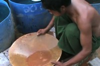 A man pans for gold in Mandalay Division's Thabeikkyin Township. (Photo: DVB)