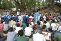 Local's gather to discuss issues of ownership of fisheries in the area in Irrawaddy division's Kyonpyaw township. (DVB)
