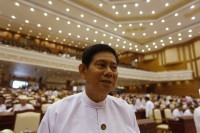 File photo of then general-secretary of the USDP, Htay Oo, in parliament. (PHOTO: Reuters)