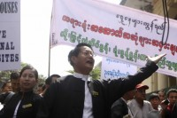 FIle photo of Burma's lawyers protesting the privatisation of an historic courthouse in downtown Rangoon on 17 October 2012. (PHOTO: DVB)