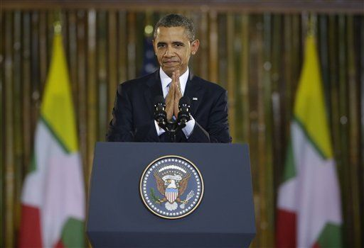 In this file photo, US President Barack Obama concludes a speech at Rangoon University on 19 November 2012. (Photo: Pablo Martinez Monsivais / AP)