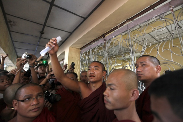 The former monk was released after posting bail on Monday. (Reuters)