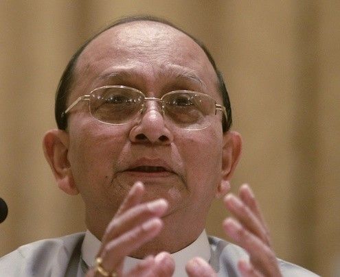 Myanmar&#039;s President Sein talks during his first news conference since his re-appointment as head of ruling party Union Solidarity and Development Party at presidential palace in Naypyitaw