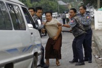 Aung Soe, one of the leaders of demonstrators peacefully protesting against the  Latpaduang Copper Mine, is arrested by police in Rangoon on 2 December 2012. (Photo: DVB)