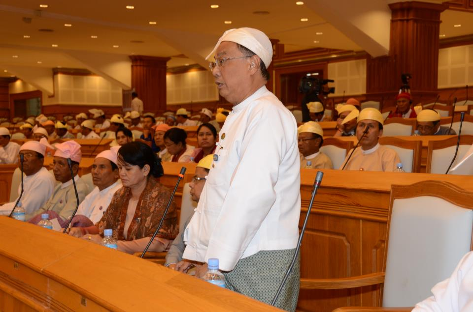 Dr Soe Yin addressed Burma's lower house of parliament, 17 January 2013 (Pyithu Hluttaw Facebook)
