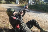 A file picture, a Kachin Independence Army soldier fights near the frontlines in Kachin State, Burma. (PHOTO: DVB)