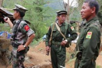A 2013 file photo of Kachin Independence Army troops near the front lines. (DVB)