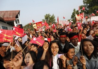 A file photo from 2013 of an NLD rally. (PHOTO: DVB)