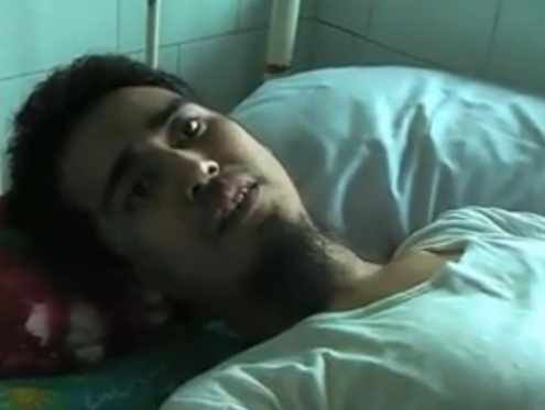 Phyo Wei Aung, pictured here on his hospital bed in Insein township, was sentenced to death for his suspected involvement in the New Year's bombing in 2010. (DVB)