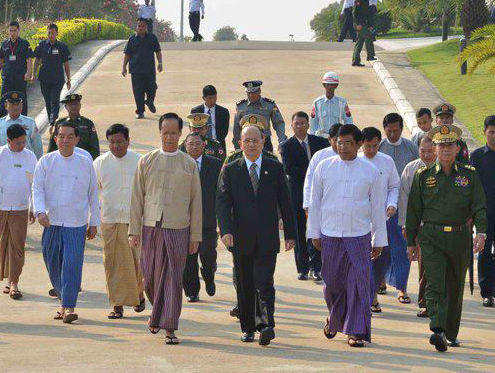 President Thein Sein departs from Naypidaw to begin a 12-day visit to Europe starting in Oslo, Norway. (Photo provided by the President's Office)