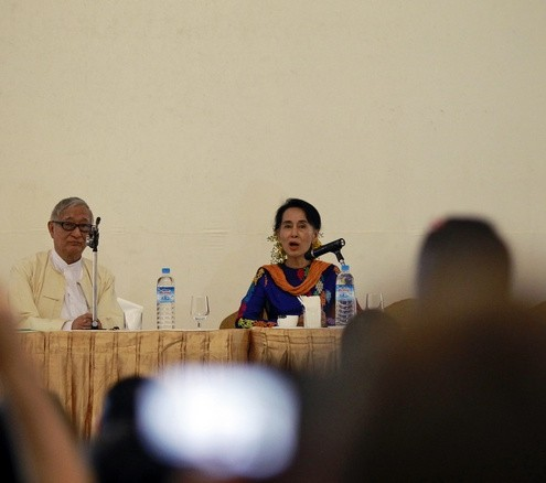Myanmar&#039;s pro-democracy leader Aung San Suu Kyi discusses about literature at the Irrawaddy Literary Festival in Yangon