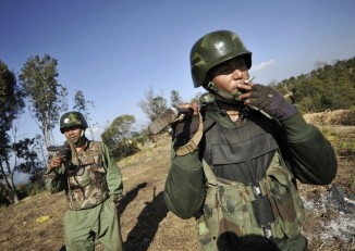 File photo of soldiers for the Kachin Independence Army, January 2013.(PHOTO: Reuters)