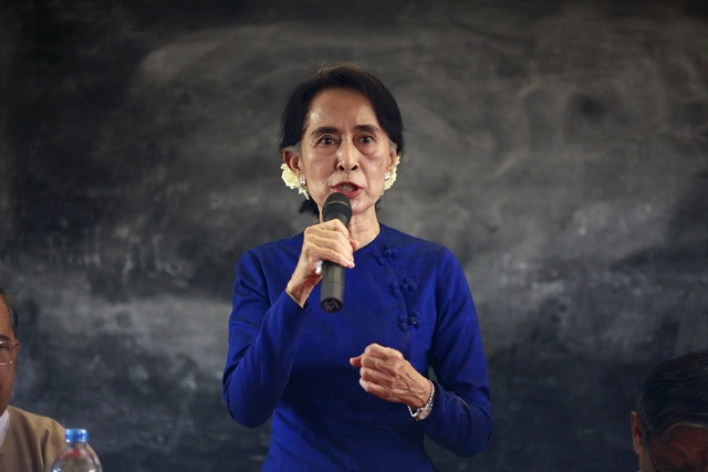 Aung San Suu Kyi at a town hall meeting in March 2013. (Reuters)
