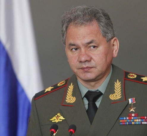 Russia&#039;s Defence Minister Shoigu speaks while attending a news conference after a meeting with his Vietnamese counterpart Phung in Hanoi