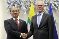 European Council President Van Rompuy welcomes Burma's Prime Minister Sein at the European Union Council (Reuters)