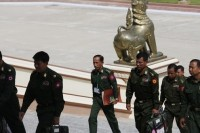 File photo of military representatives arriving at parliament. (PHOTO: Reuters)