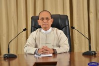 President Thein Sein addresses Burma's escalating anti-Muslim riots on state TV on 28 March 2013 (President's Office)