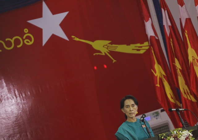 In this file photo from March 2013, Aung San Suu Kyi gives a speech at the NLD congress in Rangoon. (PHOTO: Reuters)
