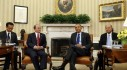 U.S. President Barack Obama sits with Myanmar's President Thein Sein in the Oval Office at the White House in Washington