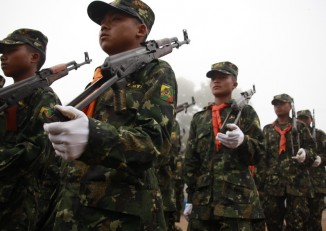 File photo of SSA-S soldiers display on Shan resistance day at their headquarters in Loi Taleng, February 2011. (PHOTO: DVB)