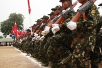 File photo of SSA-S soldiers on parade on Shan Resistance Day at their headquarters in Loi Taleng, February 2011. (PHOTO: Francis Wade)
